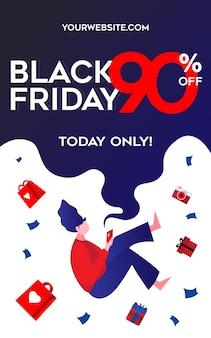 Black friday flyer-sjabloon met een meisje dat in een heleboel afgeprijsde producten vliegt