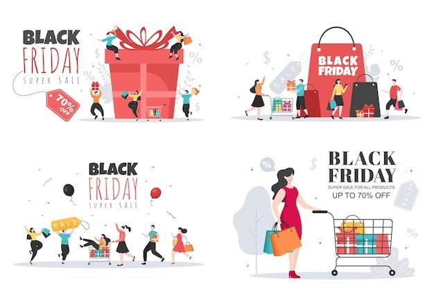 Black friday geeft grote korting op alle producten voor poster, promotie of achtergrondvectorillustratie