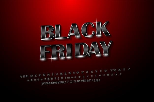 Black friday glanzende glanzende zwarte stijl met zilver. conceptverkoop op zwarte vrijdag met de stijl van het engelse alfabet. zwart op rood achtergrondgradiënt grafisch ontwerp
