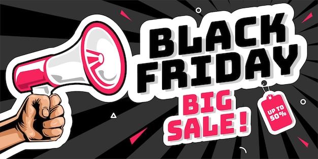 Black friday grote verkoopbanner met megafoon