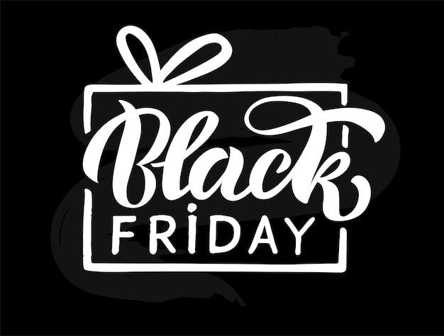 Black friday handgeschreven moderne belettering celebration offerte voor kaart evenement logo