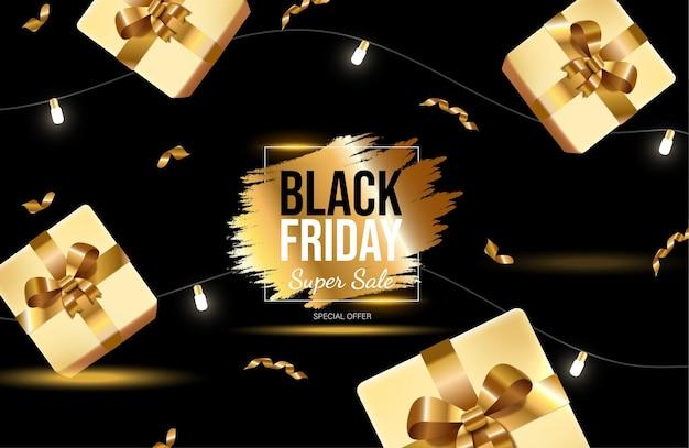 Black friday helder bannerontwerp met gouden geschenkdozen en