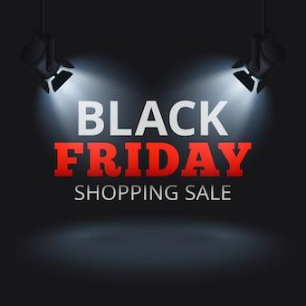 Black friday-het winkelen verkoop vectorachtergrond met schijnwerpers op stadium en verlichte teksten. zwarte vrijdag korting banner, promotie reclame illustratie