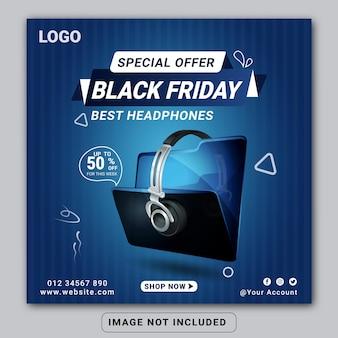 Black friday hoofdtelefoon merk product social media banner ontwerpsjabloon of vierkante flyer