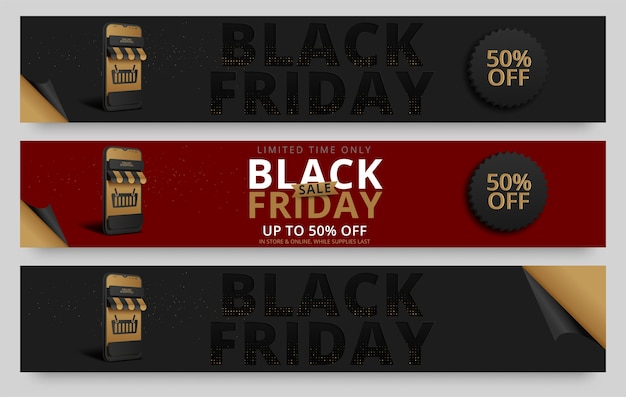 Black friday horizontale banners set
