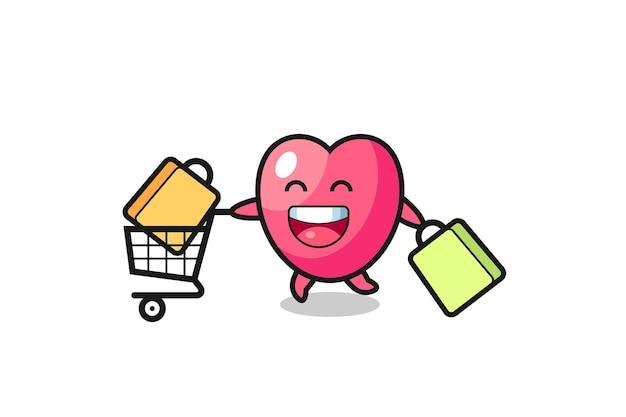 Black friday-illustratie met schattige hartsymboolmascotte, schattig stijlontwerp voor t-shirt, sticker, logo-element