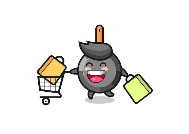 Black friday-illustratie met schattige koekenpanmascotte, schattig stijlontwerp voor t-shirt, sticker, logo-element