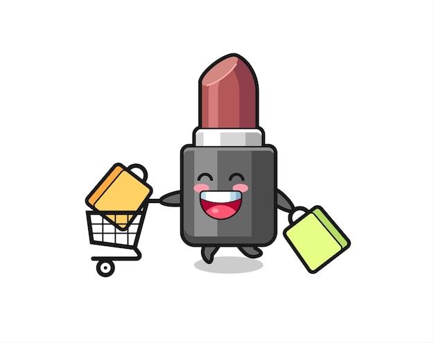 Black friday-illustratie met schattige lippenstiftmascotte, schattig stijlontwerp voor t-shirt, sticker, logo-element
