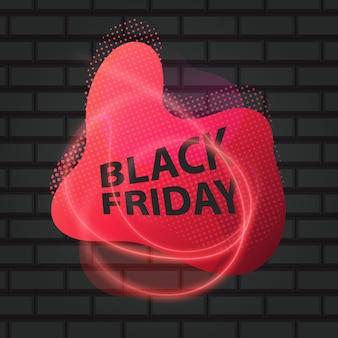 Black friday-inschrijving op een baksteenachtergrond. concept van verkoop, opruiming en korting