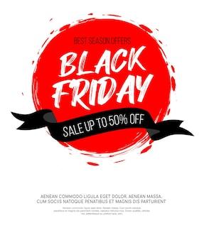 Black friday-inscriptie op abstracte rode inkt ronde plek te koop en korting