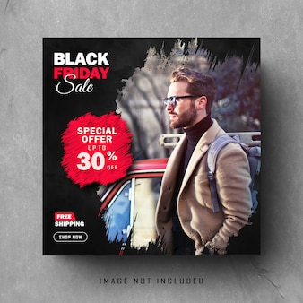 Black friday instagram post of square banner set