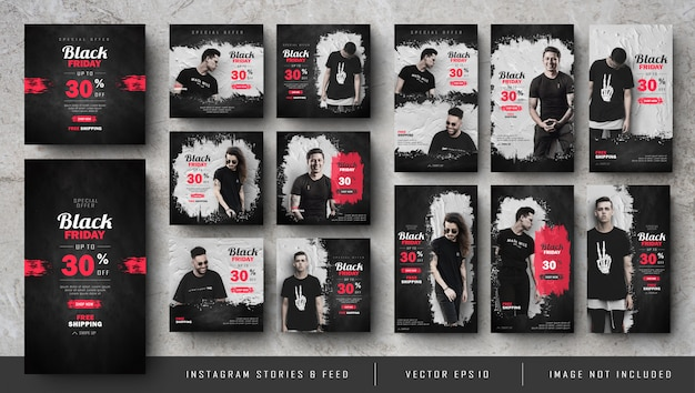 Black friday instagram-verhalen en square banner-set