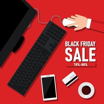 Black friday kortingen flyer design met computer