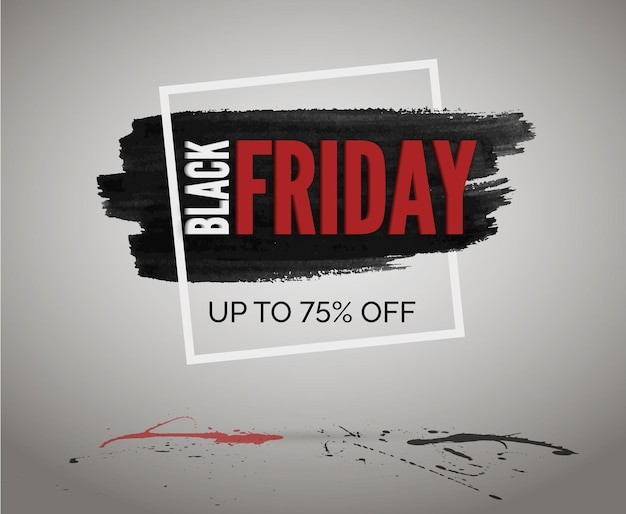 Black friday kortingen vector webadvertentie. verkoop evenement aquarel grunge banner in frame met] rode en zwarte spatten.
