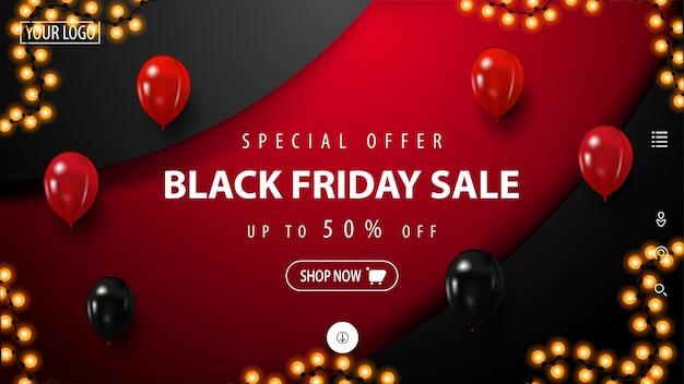 Black friday-kortingsbanner met grote decoratieve cirkel op achtergrond. korting op rode en zwarte banner voor website met knop, rode en zwarte ballonnen en slinger