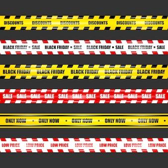 Black friday-linten, realistische linten met hoogtepunten op een geïsoleerde zwarte achtergrond