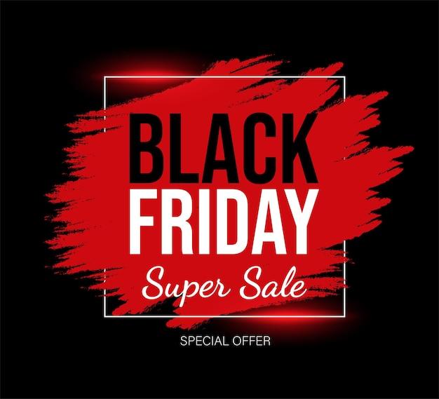 Black friday-marketingkaartsjabloon met tekstruimte rood en