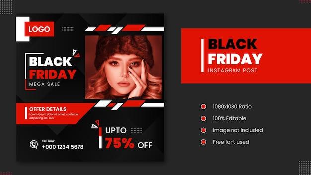 Black friday mega sale fashion instagram postontwerp met abstracte vormen