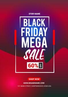 Black friday mega sale flyer design