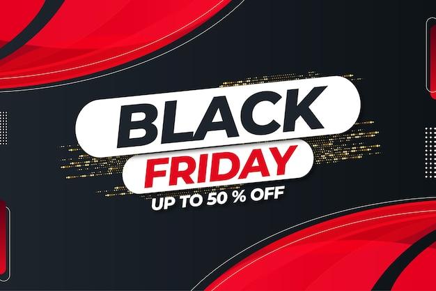 Black friday mega sale tot 50% korting met abstracte vormen ontwerpsjabloon