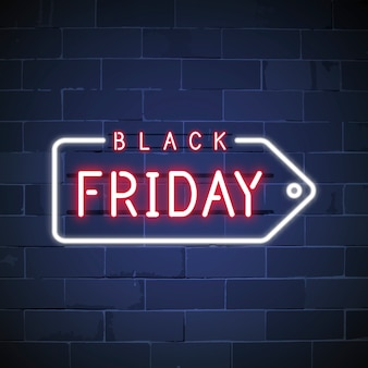 Black friday neon teken vector