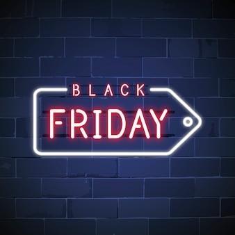 Black friday neon teken vector