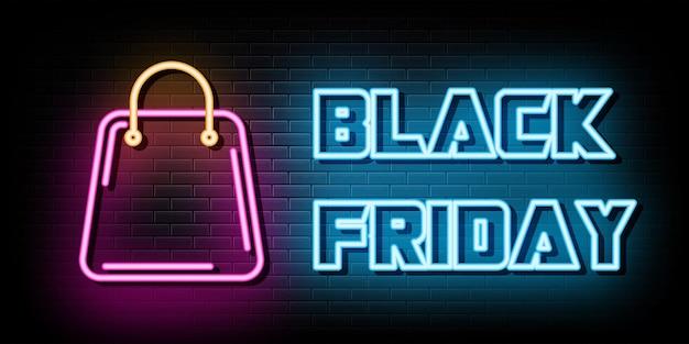 Black friday neonreclames vector ontwerpsjabloon neon stijl