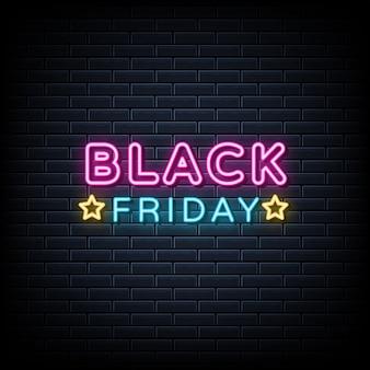 Black friday-neonteken, lichte banner, aankondigingsneonuithangbord.