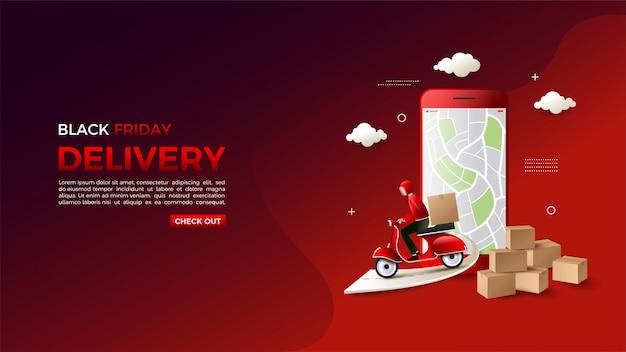 Black friday online shoppen met een illustratie van de bezorgmap.