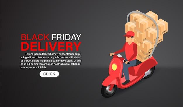 Black friday online shopping levering express per scooter met illustratie. isometrisch plat ontwerp.