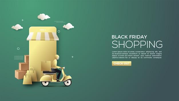 Black friday online winkelen met goudkleurige smartphone en koerier 3d illustratie