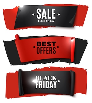 Black friday papieren banner set