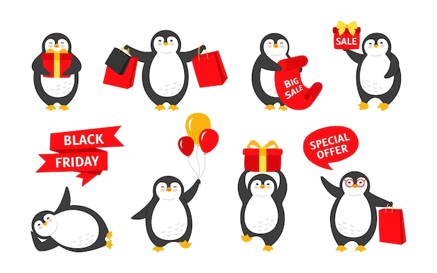 Black friday penguin tekenfilm verzameling. glimlach gelukkig karakter met verkoopachtergrond of tekstballon. leuke platte hand getrokken pinguïns collectie.