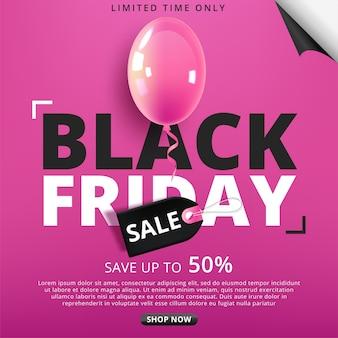 Black friday-poster met glanzende ballonnen