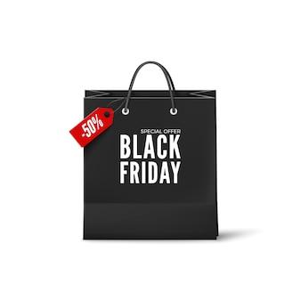 Black friday-poster. zwarte papieren zak met kortingskaartje. zwarte vrijdag sjabloon voor spandoek. geïsoleerd op witte achtergrond