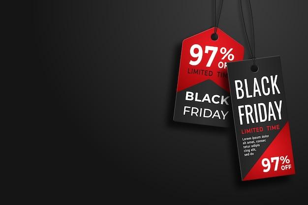 Black friday realistisch prijskaartje. verkoop prijskaartje etiketten