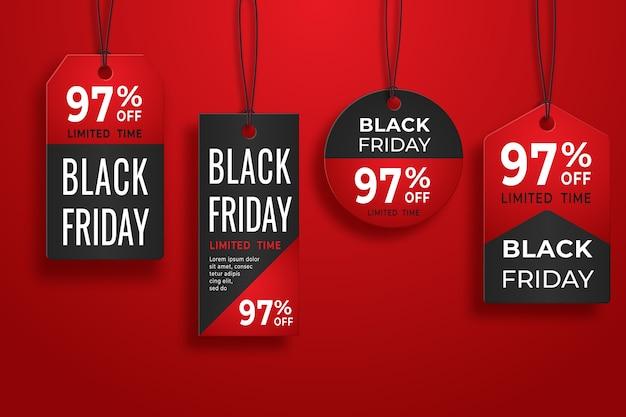 Black friday realistische papieren prijskaartje. verkoop prijskaartje