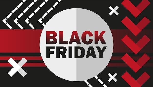 Black friday sale-advertentie. vectorillustratie voor uw bedrijfsontwerp in rode, witte en zwarte kleuren.