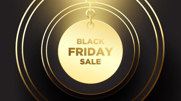 Black friday sale banner poster donkere achtergrond met combinatie van gouden en zwarte kleur horiz