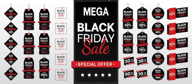 Black friday sale banner sale tags collectie set