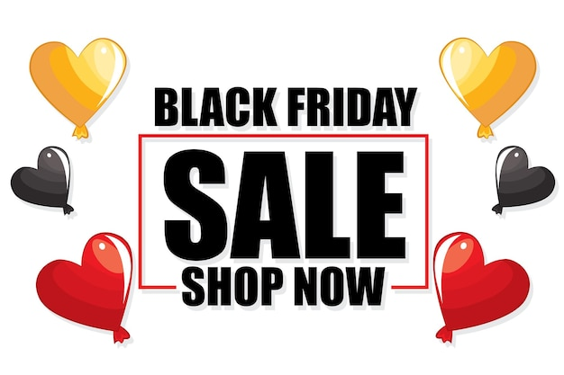 Black friday sale bannerontwerp met ballonnen. plaats voor tekst.