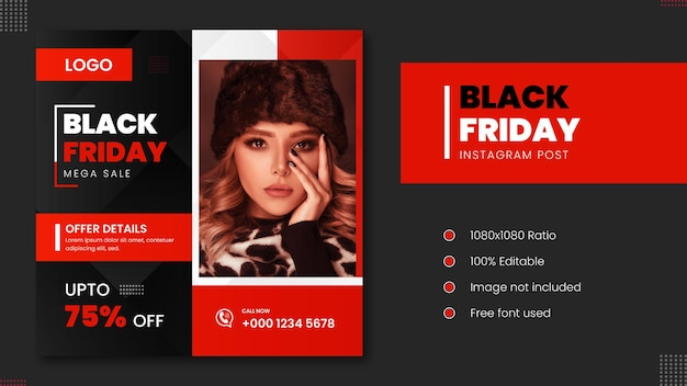 Black friday sale fashion instagram post rode kleur minimaal ontwerp.