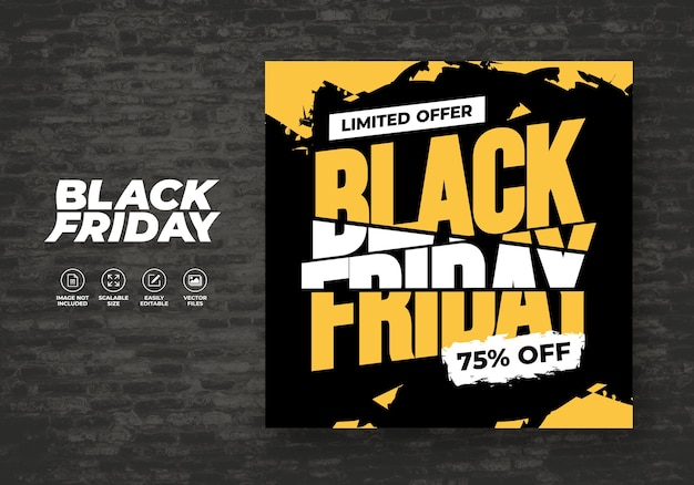 Black friday sale flat design banner sjabloon