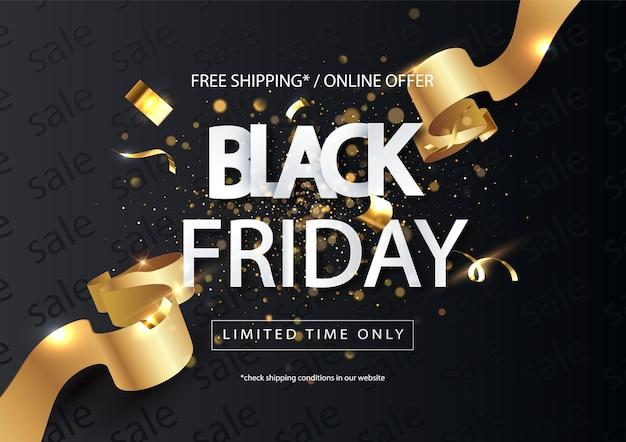 Black friday sale horizontale banner met gouden lint. universele vector verkoop achtergrond voor poster, spandoeken, flyers, kaart.