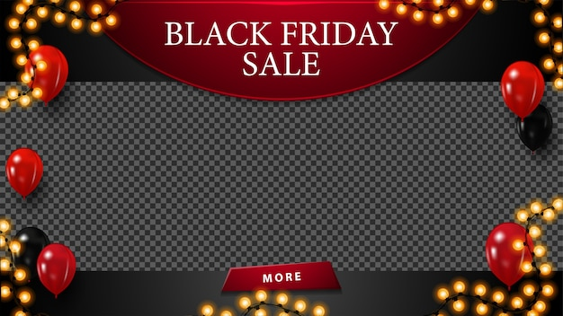 Black friday sale, korting lege sjabloon met plaats voor uw foto, ballonnen in de lucht, knop en slinger frame.