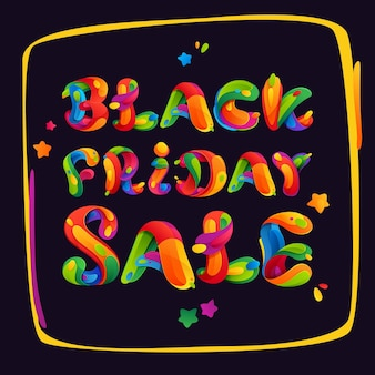 Black friday sale-letters op het kleurrijke frame voor uw poster, flyers en andere advertenties.