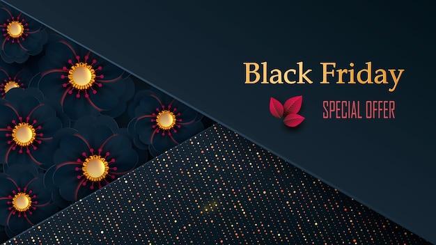 Black friday sale met bloemen op een donkere achtergrond