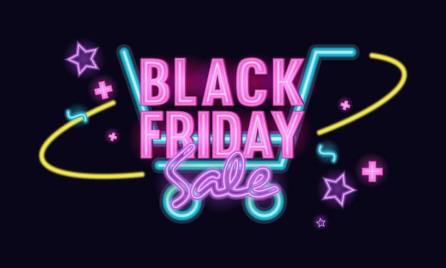 Black friday sale neon light winkelwagen thema illustratie