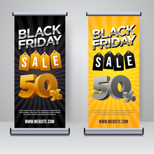 Black friday sale oprolbare sjabloon voor spandoek