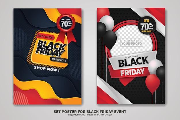 Black friday sale posterontwerpset met achtergrondstructuur, elegant, luxe en schoon ontwerp. vector illustratie.